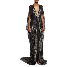 Naeem Khan Plunging Metallic Chiffon Drape-Sleeve Gown ($5,490) ❤ liked on Polyvore featuring dresses, gowns, gunmetal, chiffon evening gowns, metallic gown, chiffon sleeve dress, long sleeve dress and chiffon gowns