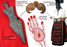 traditional Romanian, Macedonian, Indian - teardrops - ca 2 picaturi de apa Mehendi, Henna Designs, 18th Century, Indiana, Body Art, Symbols, Traditional, Blouse, Jewelry