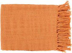 Surya Tilda 59 by 51 inches Woven Acrylic Throw, Burnt Orange