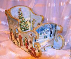 Купить Саночки новогодние декупаж - голубой, Саночки, сани, санки, деревянные, Новый Год, подарок