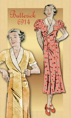 Butterick 6914-  Wrap Around Hooverette House Dress Pattern.      Typically worn by housewives in the 1930s.   Sears advertisement shows them being sold 2 for 95 cents In the Depression Era when Herbert Hoover was president.