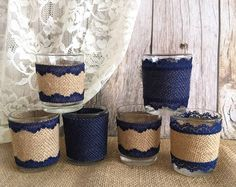 6 burlap and lace covered votive tea candles country di PinKyJubb