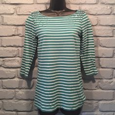 SALE ANN TAYLOR LOFT sparkly and striped shirt Very cute. No flaws. Size small. Half sleeve. Turquoise and white stripes.                                    🚫NO TRADES/ PAYPAL ✔DON'T ASK FOR MY LOWEST PRICE, PLEASE USE OFFER BUTTON ❤️BUNDLE TO SAVE! ⏳I ONLY HOLD ITEMS FOR 24 HOURS Ann Taylor Tops Tees - Long Sleeve