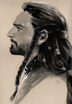 evankart:  Young prince Thorin(2) ink & watercolor (young Thorin (1) The Hobbit