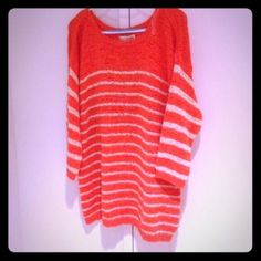 🍑NWT Jones New York Coral Knit Sweater🍑 💛BRAND NWT⚜Light, Comfy & Super Darling, this coral & cream striped sweater is very classy!! Nice loose fit, has some stretch. Jones New York Sweaters Crew & Scoop Necks