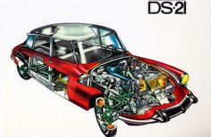 "https://flic.kr/p/vpwtk | Citroen DS21 cutaway | with apologies to the photo purists amongst you - although, I suppose, to be strict, it is a piece of artwork I own that I have photographed. I'm a complete sucker for these cutaway diagrams - one of my best Christmas presents this year was a book of aeronautical cutaways from the forties. If you of a similar disposition this is best viewed ""enormous""!"