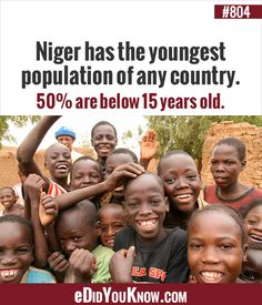Niger has the youngest population of any country. are below 15 years old. Funny Videos For Kids, Did You Know Facts, Small Talk, Wow Products, 15 Years, Interesting Facts, Lifehacks, Some Fun, Trivia