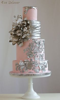 Pink Wedding Cakes Blush and silver Wedding Cake Elegant Wedding Cakes, Elegant Cakes, Beautiful Wedding Cakes, Gorgeous Cakes, Wedding Cake Designs, Pretty Cakes, Amazing Cakes, Metallic Cake, Silver Cake