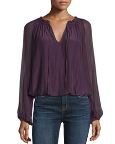 Ginger Long-Sleeve Peasant Top by Ramy Brook at Neiman Marcus.