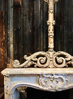 Antique ornament, fire place, mantle piece, rococo, bovenlicht, 18th century, French, Dutch, barnwood, old wood