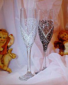 персонализированный свадьбы шампанское бокалы ручной работы Toasting Flutes, Комплект из 2 in Дом и сад, Товары для свадеб, Стеклянная посуда   eBay