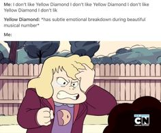 Honestly, while Yellow Diamond is right to say that Blue Diamond should move on from Pink Diamond's death, it doesn't make her redeemable in the slightest.