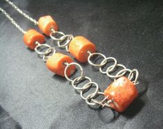 Gorgeous Orange Coral Silver Chain Necklace by leilahaikonen, $174.95