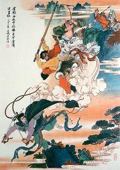 Monkey Thrice Smashes the White Bone Demon - Art Print Japanese Prints, Japanese Art, Tattoo Japanese, Ballet Posters, Art Posters, Theme Tattoo, Japanese Folklore, Japanese Mythology, Painting Prints