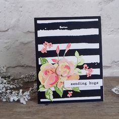 I do love to add a touch of black to my Altenew cards, I like how modern it makes them look. For this card I used the Rose flurries Altenew Cards, Stampin Up Cards, 3d Rose, Pretty Cards, Watercolor Cards, Paper Cards, Cool Cards, Flower Cards, Creative Cards