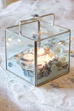 Candle holders are great when it comes to decorating, because they set the mood.With these creative decorating ideas for glass candle holders,you can custom Shells And Sand, Sea Shells, Rivera Maison, Shell Centerpieces, Tea Candles, Glass Boxes, Glass Candle Holders, Home And Deco, Creative Decor