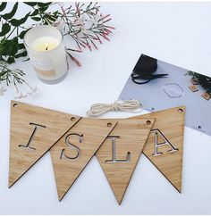 Laser cut wooden name bunting Wood Laser Ideas, Laser Cut Wood, Laser Cutting, Wooden Names, Wooden Letters, 3d Laser Printer, Name Decorations, Gravure Laser, Name Bunting