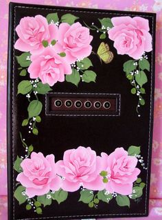 What a great way to treasure your memories in this pretty hand painted rosy album!    I have hand painted sweet pink roses, white flowers, a