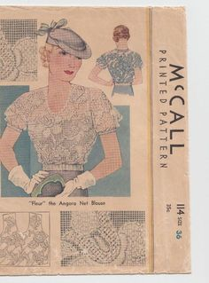Rare Vintage Original McCall 1930's Blouse Sewing Pattern. #114  sz. 36  Unused!