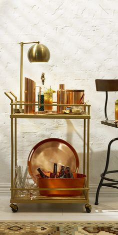 I have all of this copper barware, now I just need to track down that lamp + bar cart! Love the lamp on the bar cart - so unique! Gold Bar Cart, Diy Bar Cart, Bar Cart Styling, Bar Cart Decor, Bar Carts, Bar Trolley, Drinks Trolley, Metal Tree Wall Art, Dining Room