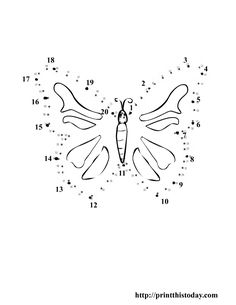 Dot to dot butterfly for kids printable