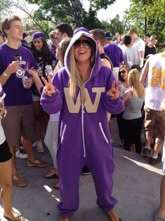 The Swagga Suit! It may just be the next big thing to sweep the sports world. These big, purple, full-zip onesies — emblazoned with the UW logo… College Cheer, College Girls, Top Christmas Toys, Uw Huskies, University Life, University Of Washington, Life Plan, All Things Purple, My Ride