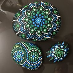 Earth and Sky Mandala Stones, Set of 3 Painted Journey Stones, Dot Painting on Rocks, Meditation, H Dot Painting On Rocks, Mandala Painted Rocks, Rock Painting Designs, Hand Painted Rocks, Home Altar, Memorial Stones, Mandala Painting, Silk Brocade, Mother Gifts