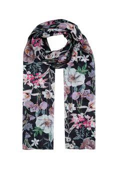 Dark botanical silk scarf | Monsoon London