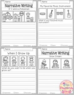 Free Writing Prompts contains 20 free pages of writing prompts worksheets. This … Free Writing Prompts contains 20 free pages of writing prompts worksheets. This product is suitable for kindergarten and first grade students. First Grade Freebies, Kindergarten Freebies, First Grade Worksheets, Kindergarten Writing, Kindergarten Teachers, Narrative Writing Prompts, Writing Promps, Teaching Writing, Writing Activities