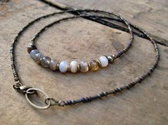 Simple Earthy Agate Necklace with waterfall by ArtifactsEtCetera, $34.00