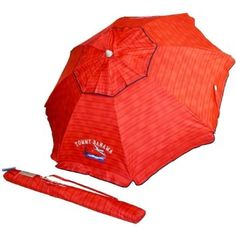 Tommy Bahama 2016 Sand Anchor 7 feet Beach Umbrella with Tilt and Telescoping Pole (Red Stripe), 2016 Amazon Top Rated Patio Furniture & Accessories #Lawn-And-Garden
