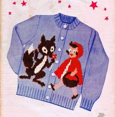1950s Little Red Riding Hood knit Sweater PATTERN for Girl's size 2 4 6 8 # 200 #KnitOGraf200