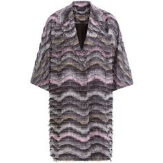 Diane von Furstenberg Woven Coat (76.325 RUB) ❤ liked on Polyvore featuring outerwear, coats, multicolor, diane von furstenberg coat, fringe coat, multi colored coat, oversized coat and print coat