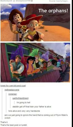 Are we going to also ignore that the red troll right behind Flynn Rider basically has its face pressed right against Flynn's butt!? xD