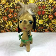 Vintage 1960s #kitsch flocked dog #ornament plastic #collar spiky hair,  View more on the LINK: http://www.zeppy.io/product/gb/2/252258947079/