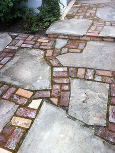 Brick & Concrete Break – Break - front yard landscaping ideas on a budget Concrete Walkway, Flagstone Patio, Brick Patios, Concrete Bricks, Broken Concrete, Brick Pathway, Concrete Garden, Stone Patio Designs, Walkway Designs