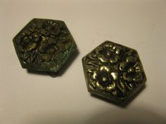 Lot of 2 Vintage Hexagon Metal Picture Buttons Flowers Shank Patina Rusty Backs