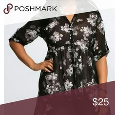 High-Low Torrid Top This is a floral black and white print in a size 0! torrid Tops