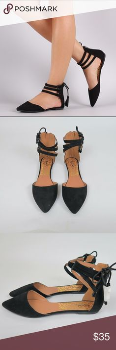 Black pointed toe ankle strap flats Brand: Qupid Size: 8  Color: Black  New (with box)   Pointed toe Faux suede  Side lace up detail Open shank  Triple ankle strap Back zipper Cutout  Small heel  No Trade Shoes Flats & Loafers