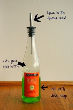 Use a liquor or olive oil dispenser spout for dish or hand soap. | 30 Insanely Easy Ways To Improve Your Kitchen