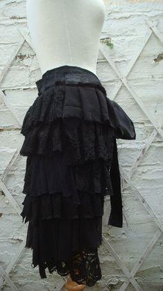 Upcycled Black Charcoal Bustle Woman's Clothing by BabaYagaFashion
