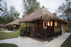 One of the six Pondok Santi Estate's bungalows, set within an ancient coconut plantation. Bamboo House Design, Tropical House Design, Tropical Houses, Tyni House, Tiny House Cabin, Philippine Houses, African House, Koh Chang, Beach Bungalows