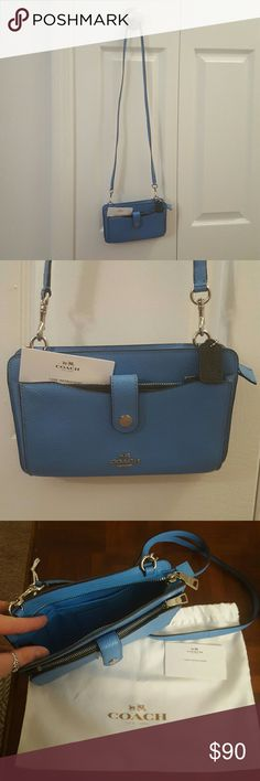 """Coach Messenger w/pop-up pouch In excellent condition. Bright blue with navy pouch. Dust bag is missing right string. """"The ultimate hands-free weekend or travel bag, this tailored design converts from shoulder bag to crossbody to clutch to wallet (the strap is detachable). The pop-out pouch can be carried separately or tucked neatly into the front slip pocket."""" Coach Bags Crossbody Bags"""