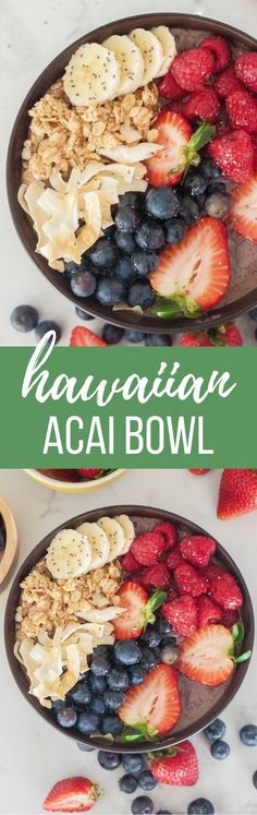 This refreshing and delicious acai bowl can be enjoyed for breakfast, or anytime of day! One bite and you'll be transported on a tropical Hawaiian vacation.
