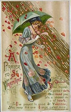 vintage valentines day card a prayer to St. Valentine raining red hearts and other vintage prints Valentine Images, My Funny Valentine, Vintage Valentine Cards, Saint Valentine, Vintage Greeting Cards, Vintage Holiday, Valentine Day Cards, Valentine Crafts, Vintage Postcards