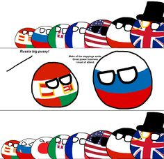 The Russo-Japanese War ( Austria-Hungary,  Russia, Japan, Italy, France, USA, Germany, UK ) by koleye  #polandball #countryball