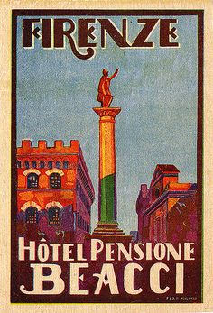 ITALY Florence Firenze vintage Luggage Labels-Hotel Pensione Beacci, Firenze / Florence Italy