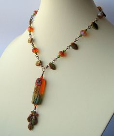 Sommeil  lampwork Czech glass and copper by LouiseGoodchild, £58.00