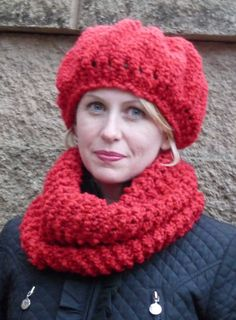 Ladies Red Knit Hat by lovemyknits on Etsy, $18.00