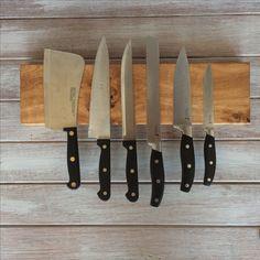 Solid oak magnetic knife holder from Holder & Hook www.holderandhook.co.uk